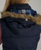 Superdry Fur Hooded Lite Gilet Navy