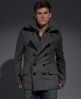 Superdry Classic Pea Coat Jacket Light Grey