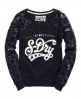 Superdry Sequin Star Sweat Top Navy