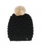 Superdry Bobble Stitch Fur Pom Pom Hat  Black