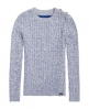 Superdry Croyde Twist Cable Crew Neck Jumper Blue