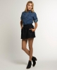 Superdry Grace Tweed Skirt Navy