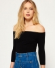 Superdry Essentials Off Shoulder Top Black