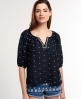 Superdry Shine Trim Blouse Navy