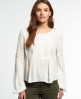 Superdry Roswell Lacy Bluse Elfenbein