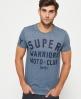 Superdry Warriors Biker T-Shirt Blau
