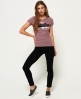 Superdry T-shirt à rayures Vintage Logo Rose