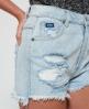 Superdry Hannah Super Ripped Denim Shorts Blue