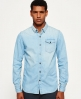 Superdry IE Ghost Button Down Denim Shirt Blue