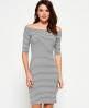 Superdry Breton Bardot Stripe Dress Grey