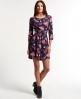 Superdry Fall Print Tunic Dress Navy