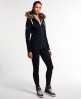 Superdry Applique Luxe Fur Zip Hoodie Navy