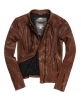 Superdry Silka Leather Biker Jacket Brown