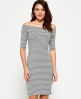 Superdry Breton Bardot Stripe Dress Grey