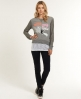 Superdry Split Slouch Sweat Top Grey
