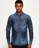 Superdry IE Ghost Button Down Denim Shirt Blue