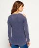 Superdry Waffle Stitch Cold Shoulder Knit Jumper Blue