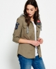 Superdry Washed Twill Military Shirt Green