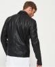 Superdry Schmal geschnittene Bikerjacke aus gewaschenem Leder Schwarz