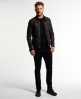 Superdry Real Hero Leather Biker Jacket Brown