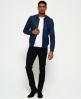 Superdry Leather Bomber Jacket Blue