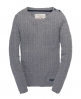 Superdry Croyd Cable Crew Light Grey