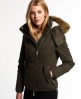 Superdry Microfibre Hooded Fur Boxyparka Jacket Green
