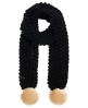 Superdry Bobble Stitch Pom Pom Fur Scarf Black