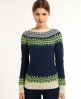 Superdry Peak Fluro Fairisle Crew Navy