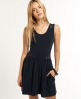 Superdry Lace Cutout Skater Dress Navy