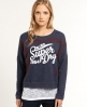Superdry Floral Folk Crew Blue