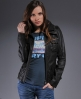 Superdry Ramona Leather Jacket Brown