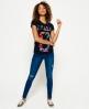 Superdry T-shirt Osaka Tropical Flock  Bleu Marine