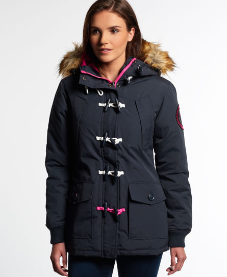 Womens - Everest Duffle Coat in Navy/pop Pink | Superdry