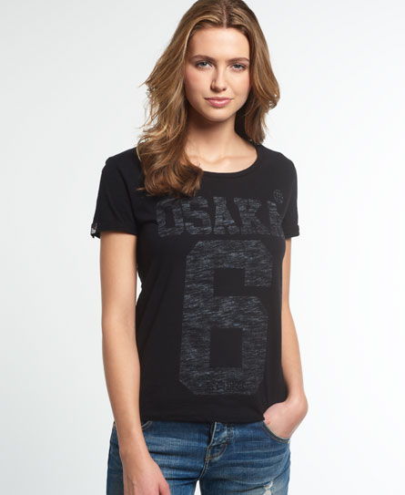 schwarz Superdry Osaka Burn Out T-Shirt