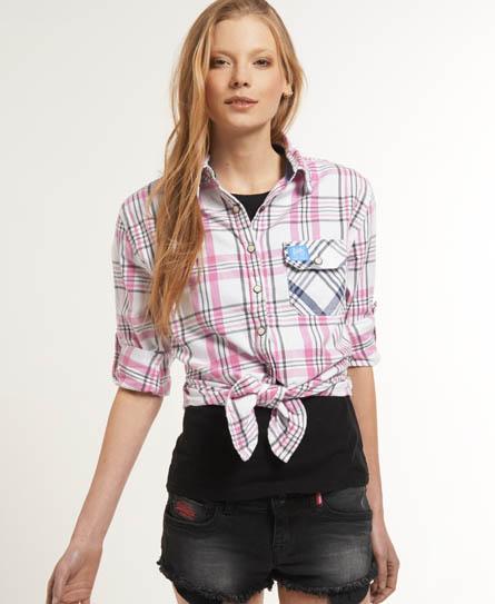 Superdry Patch Pocket Tie Shirt Pink