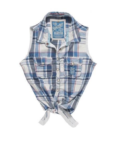 Superdry Twill Trailer Tie Shirt Blue