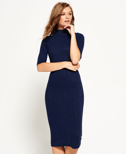 rich blue Superdry Freja Collar Midi Dress