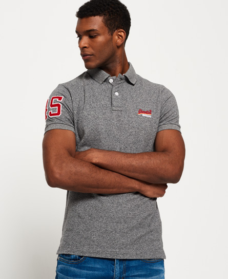 grey grit Superdry Classic Pique Polo Shirt
