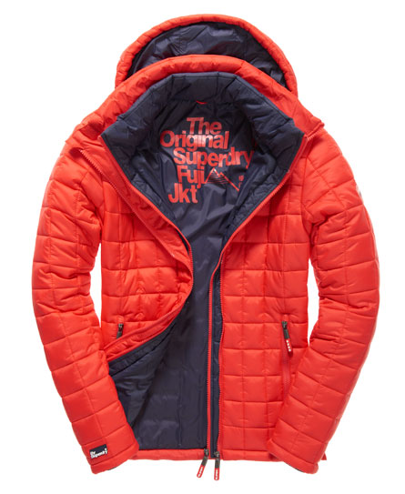 Mens Hooded Box Quilt Fuji Jacket In Bright Red Superdry