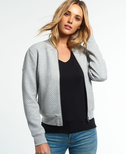 Superdry Micro Quilt Bomber Jacket Light Grey - Womens - Micro Quilt Bomber Jacket In Grey Marl Superdry