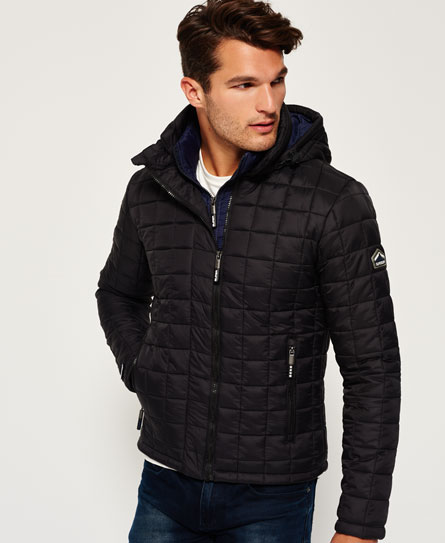 Mens - Hooded Box Quilt Fuji Jacket in Black | Superdry