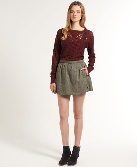 Superdry Tweed Skater Skirt Brown