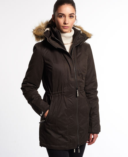 Womens - Microfibre Tall Windparka Jacket in Earth | Superdry