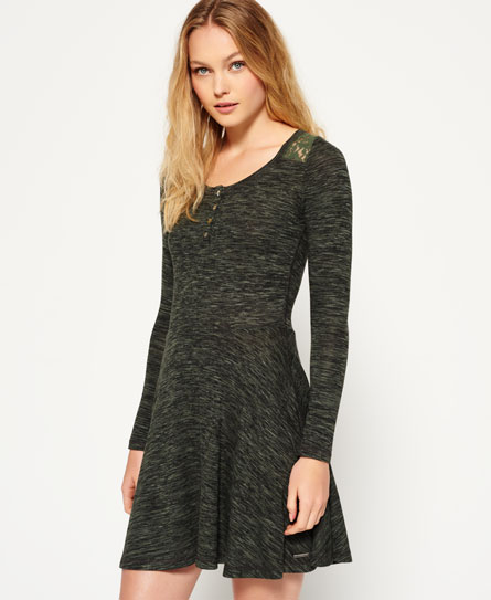 Superdry Peggy Grandad Skater Dress  Khaki/olive