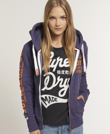 Superdry Track & Field Zip Hoodie Purple