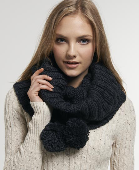 Superdry Cable Snood   Navy