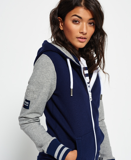 Superdry Sweat zippé à capuche Pitcher Track Gris
