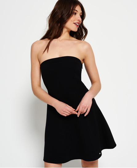 black Superdry East Side Bandeau Dress