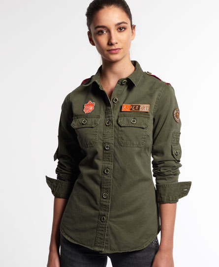 womens delta military shirt in army superdry. Black Bedroom Furniture Sets. Home Design Ideas